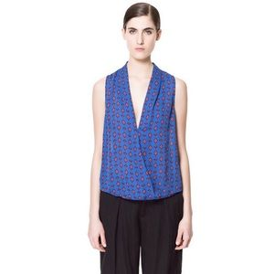 Zara Basic Crossover Blue And Red Printed Shirt